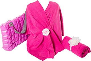 Chemo Care Package -Blanket, Wrap, Tote - Gifts For Cancer Patients in Fuschia