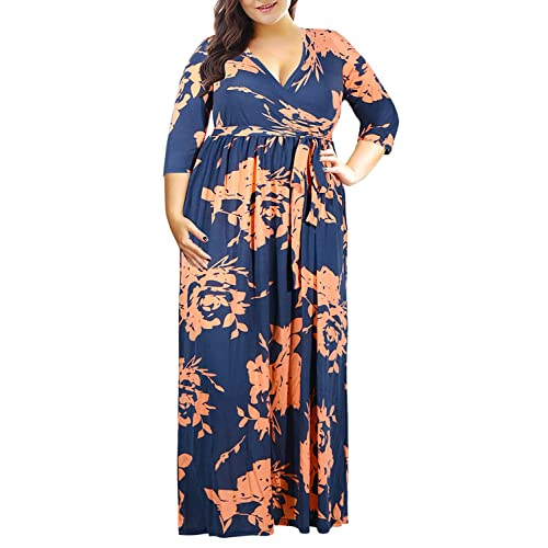 91967a765f Nemidor Women's 3/4 Sleeve Floral Print Plus Size Casual Party Maxi Dress