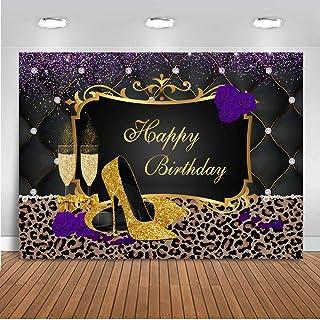 Mocsicka Lila Gold High Heels Geburtstag Hintergrund Leopard Print Frauen Geburtstag Party Banner Fotografie Hintergrund Gold Glitzer Geburtstag Foto Hintergründe (7'x5')