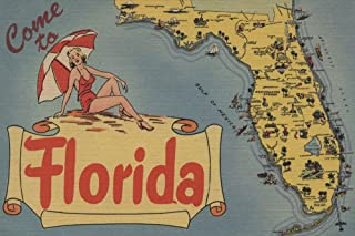 Come to Florida Map of the State, Pin-Up Girl - Vintage Halftone (16x24 Giclee Gallery Print, Wall Decor Travel Poster)