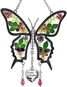 I Love You Grandma Butterfly Suncatcher Glass Wind Chime Pressed Flower Wings Embedded in Glass with Metal Trim Heart Charm Sun-Catchers Gifts for Mother Day for Grandma Birthdays