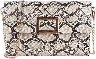 BEUWAY Bolso de mano con diseño de piel de serpiente, estilo retro