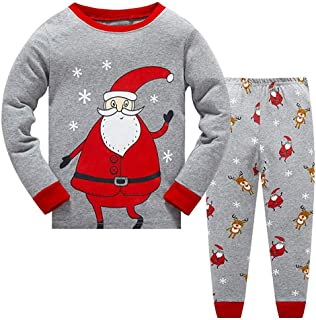 DOLYKUI 1-7 Years Baby Pyjamas Set, Toddler Kids Baby Boys Pyjamas Christmas Nightwear Sleepwear T Shirt Pants Set, Kids N...