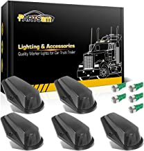Partsam 5X Cab Marker Top Light Smoke Covers + 5X 5050 T10 LEDs Bulbs Green Color 168 194 Light Compatible with Ford F150 F250 F350 1973-1997 F Series Super Duty Pickup Truck
