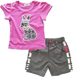 Kawai Peach Conjuntos Camiseta Mangas Cortas y Pantalones Vaqueros de Verano para Bebé Niñas 3 a 15 años
