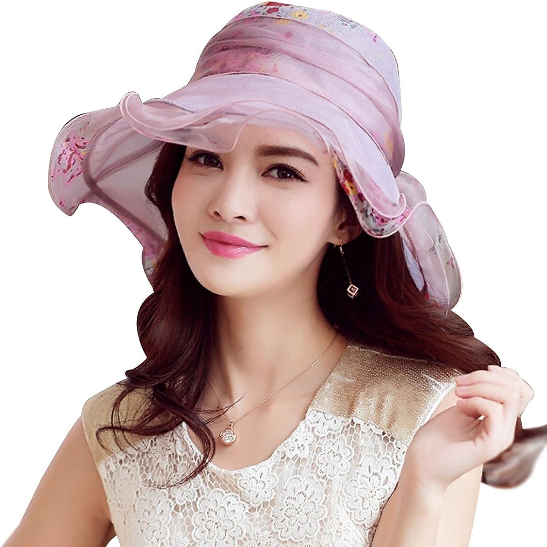 HomArt Women's Kentucky Derby Race Hats Mulberry Silk Summer Beach Floral Bowtie Hat