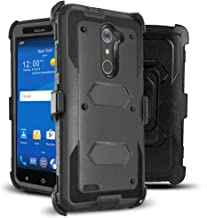J.west Compatible with ZTE ZMax Pro Case, Belt Clip Kickstand Heavy Duty Full-Body Rugged..