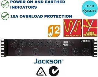 "Rack Mount Power Board Jackson RAC1200 19"" 2 RU 12 Way Rail Surge Protector Protection 2U"