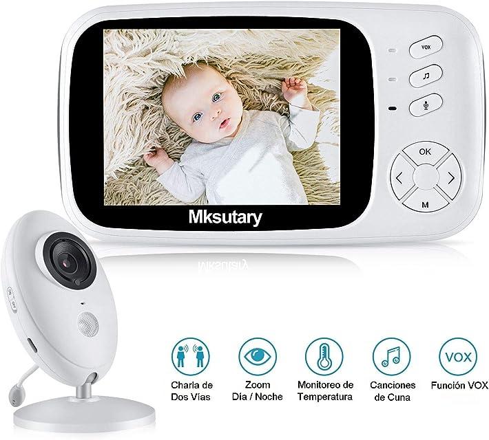 Vigilabebes con camara Mksutary 3.5 Vigilabebés Inalambrico con CámaraCamara bebes vigilancia con VOX visión nocturna Monitoreo de Temperatura DespertadorComunicación Bidireccional