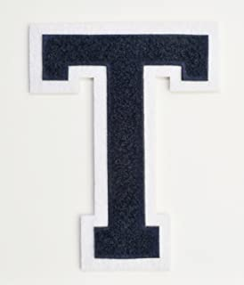 Varsity Letter Patches - Dark Navy Blue Embroidered Chenille Letterman Patch - 4 1/2 inch Iron-On Letter Initials (Navy Blue, Letter T Patch)
