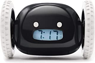 Clocky, the Original Alarm Clock on Wheels | for Adults and Kids (Best Loud for Heavy Sleeper Bed-Room) Cool, Fun Clockie Jump, Chase, Run-away, Move, Rolling (Black)
