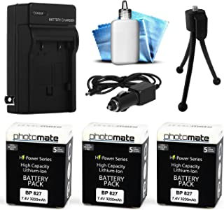 (3 Pack) PhotoMate BP-827 BP827 Ultra High Capacity Rechargable Battery (3200mAh) + Rapid Home AC Wall Charger + Car Adapter + Euro Plug + Cleaning Kit + Mini Tripod for Canon VIXIA / LEGRIA HF S10, S11, S20, S21, S30, S100, S200, M30, M31, M32, M31, M36, M40, M41, M300, M306, M400, G10, XA10, HF10, HF11, HF20, HG20, HG21, HG30, HF100, HF200, HFS10, HFS11, HFS20, HFS21, HFS30, HFS100, HFS200, HFM30, HFM31, HFM32, HFM31, HFM32, HFM36, HFM40, HFM41, HFM300, HFM306, HFM400 Video Camera / Camcorder