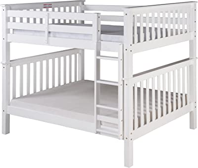 Camaflexi Santa Fe Mission Tall Bunk Bed Attached Ladder, Full Over Full, White