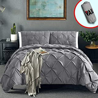 Vailge 3 Piece Pinch Pleated Duvet Cover with Zipper Closure, 100% 120gsm Microfiber Pintuck Duvet Cover, Luxurious & Hypoallergenic Pintuck Decorative(Grey, King)