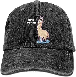 Daqinghjxg Mens/Womens Spit Happens Alpaca Llama Denim Fabric Adjustable Baseball Cap