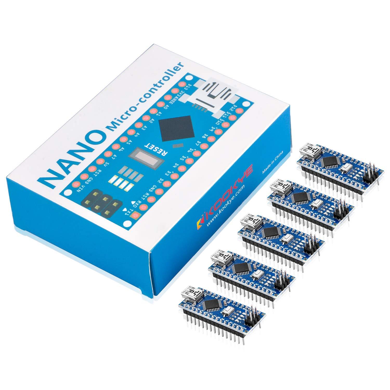 KOOKYE 5PCS Nano V3,0 ATMEGA328P CH340G 5V 16m módulo de micro-placa controladora para Arduino: Amazon.es: Informática