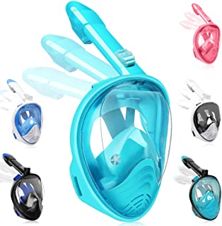 Hieha Full Face Snorkel Mask for Kids &Adults - 2020 Newly Released Anti-Fogging Anti-Leak Snorkeling Set with Detachable ...