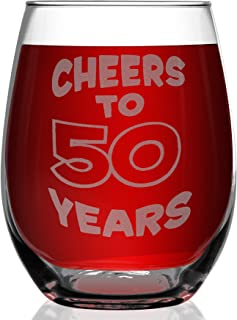 Shop4Ever Cheers To 50 Years Laser Engraved Stemless Wine Glass ~ 50th Birthday Gift 1969 50th Anniversary ~ (15 oz.)