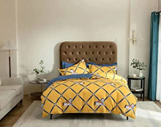 6 pieces king sizes Duvet cover cotton bedding set with fitted sheet and two sides reservible