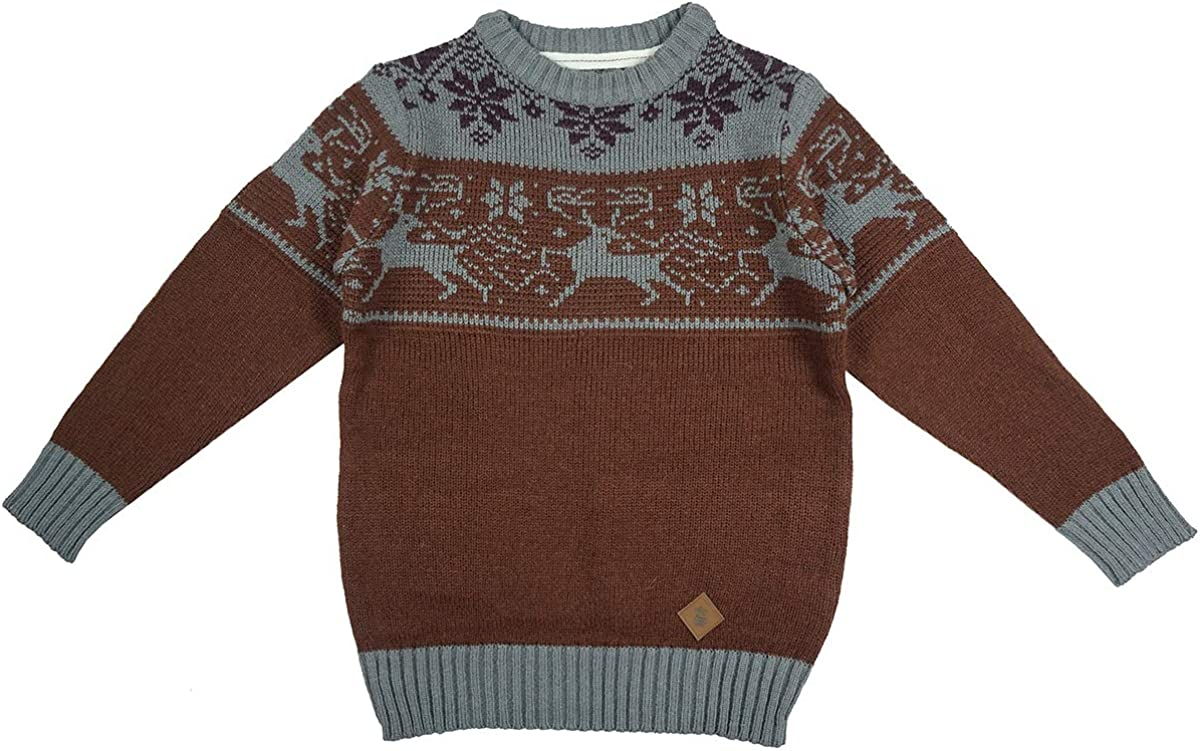 Soul Star Boys Reindeer Snowflake Crew Neck Christmas Winter Knit Jumper Sizes from 2 to 13 Years