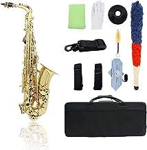 Queenser Bronze Eb Saxofone Alto Sax Lacado Instrumento de Sopro De Ouro de Ouro com Luvas de Estojo de Transporte Escova ...