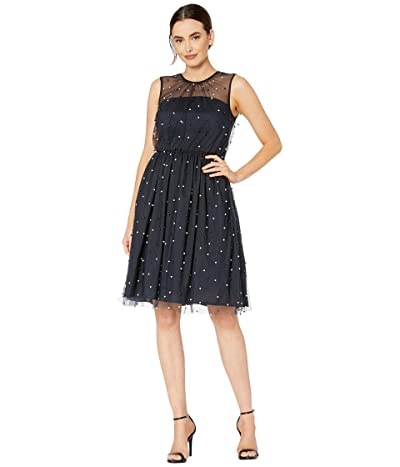 Maggy London Pearl Mesh Novelty Fit and Flare (Navy Blue) Women