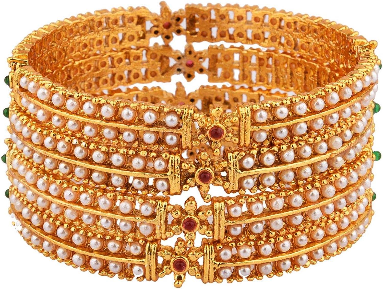 Efulgenz Indian Style Bollywood Traditional Rhinestone Religious Indian Bangle Bracelet Set Jewelry for Women