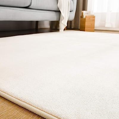 【Amazon.co.jp 限定】クモリ(Kumori) ラグ カーペット 洗える ラグマット 滑り止め マット 絨毯 オールシーズンタイプ フランネルラグ 床暖房/ホットカーペット対応 (1.5畳・135*185cm アイボリー)