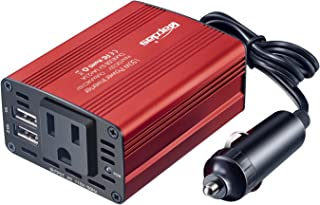 Bapdas 150W Car Power Inverter DC 12V to 110V AC Car Converter with 3.1A Dual USB Car Adapter-Red