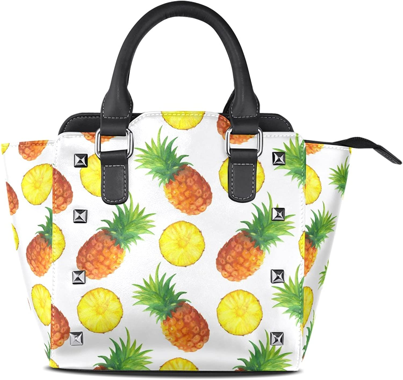 My Little Nest Women's Top Handle Satchel Handbag Watercolor Pineapples Slices Ladies PU Leather Shoulder Bag Crossbody Bag