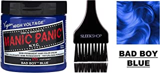 MANIC PANIC CLASSIC Semi-Permanent HAIR COLOR Cream N.Y.C. (w/Sleek Tint Brush) Tish & Snooky's VEGAN High Voltage Haircolor Dye 4 oz / 118 ml (Bad Boy Blue)