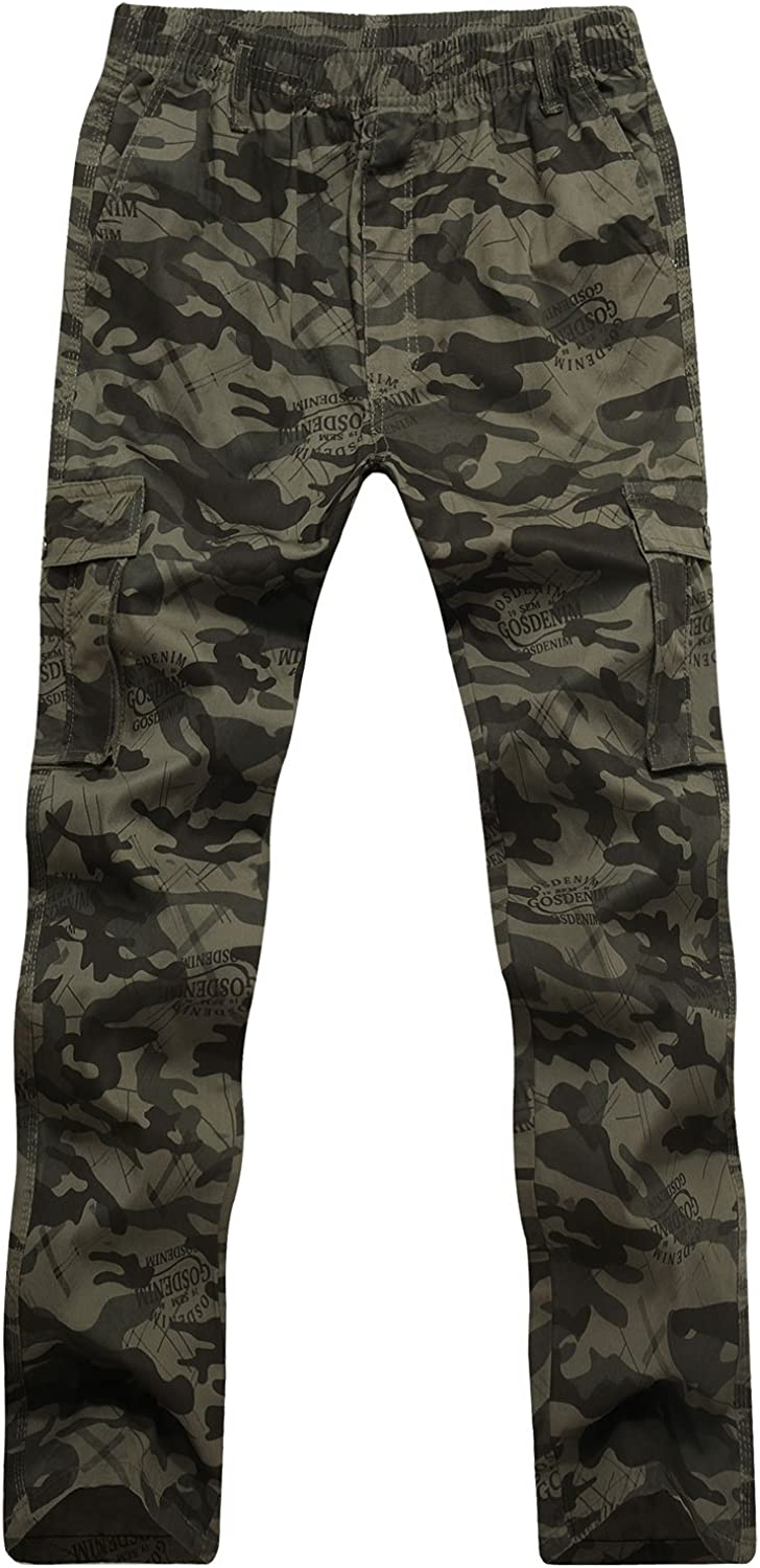 CardanWolf Men's Camo Relaxed Fit Straight Leg Wild Cargo Outdoor Sport Military Pants Trousers