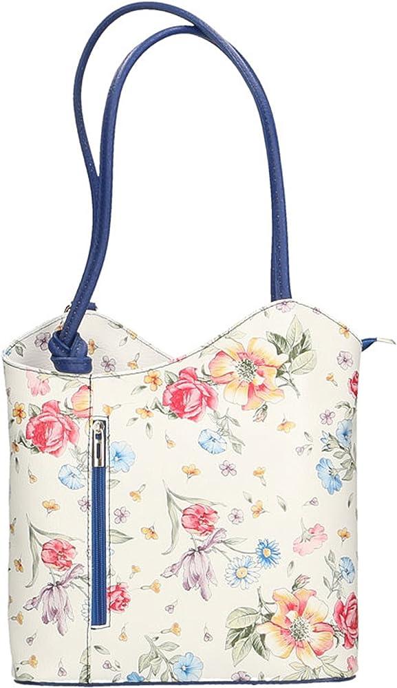 Chicca borse, borsa a spalla da donna, fantasia floreale, in vera pelle, made in italy 80056-FIORI-MANICO-BLUETTE