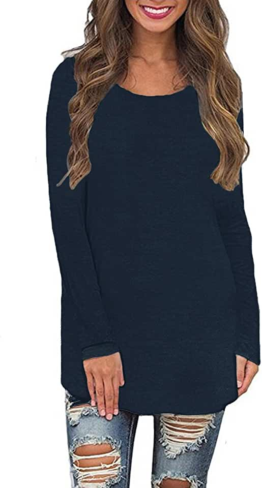 Newbby Womens Long Sleeve Crew Neck Plain Loose Fit Casual Shirt Tunic Tee Tops