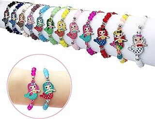 Elesa Miracle 12pc Women Girl Mermaid Woven Friendship Crystal Bead Bracelet Value Set Kids Party Favor Adjustable Bracelet