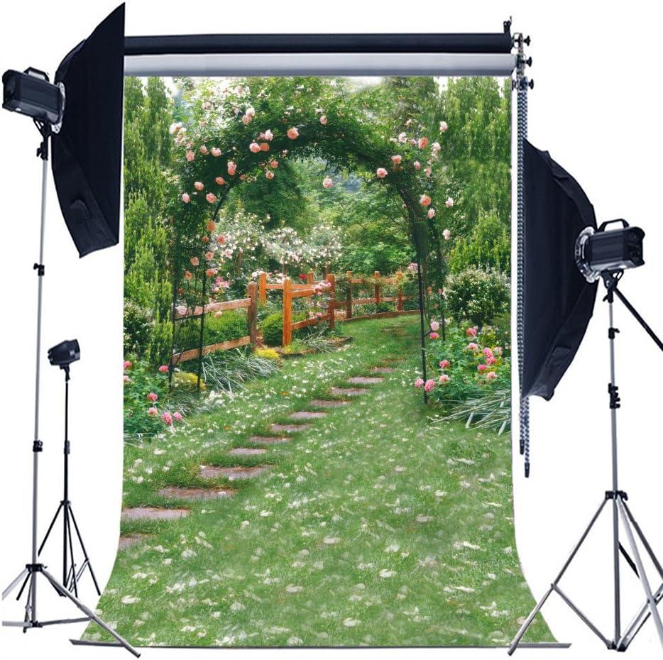 AOFOTO 10x15ft Wedding Archway Backdrop Romantic Garden Flowers Photography Background Beautiful Floral Pergola Pathway Bride Lovers Woman Girlfriend Artistic Portrait Decoration Photo Studio Props