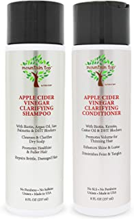 MOUNTAIN TOP Apple Cider Vinegar ACV Shampoo & Conditioner Set (2 x 8oz) with Biotin/Castor Oil for Fuller & Thicker Hair/...