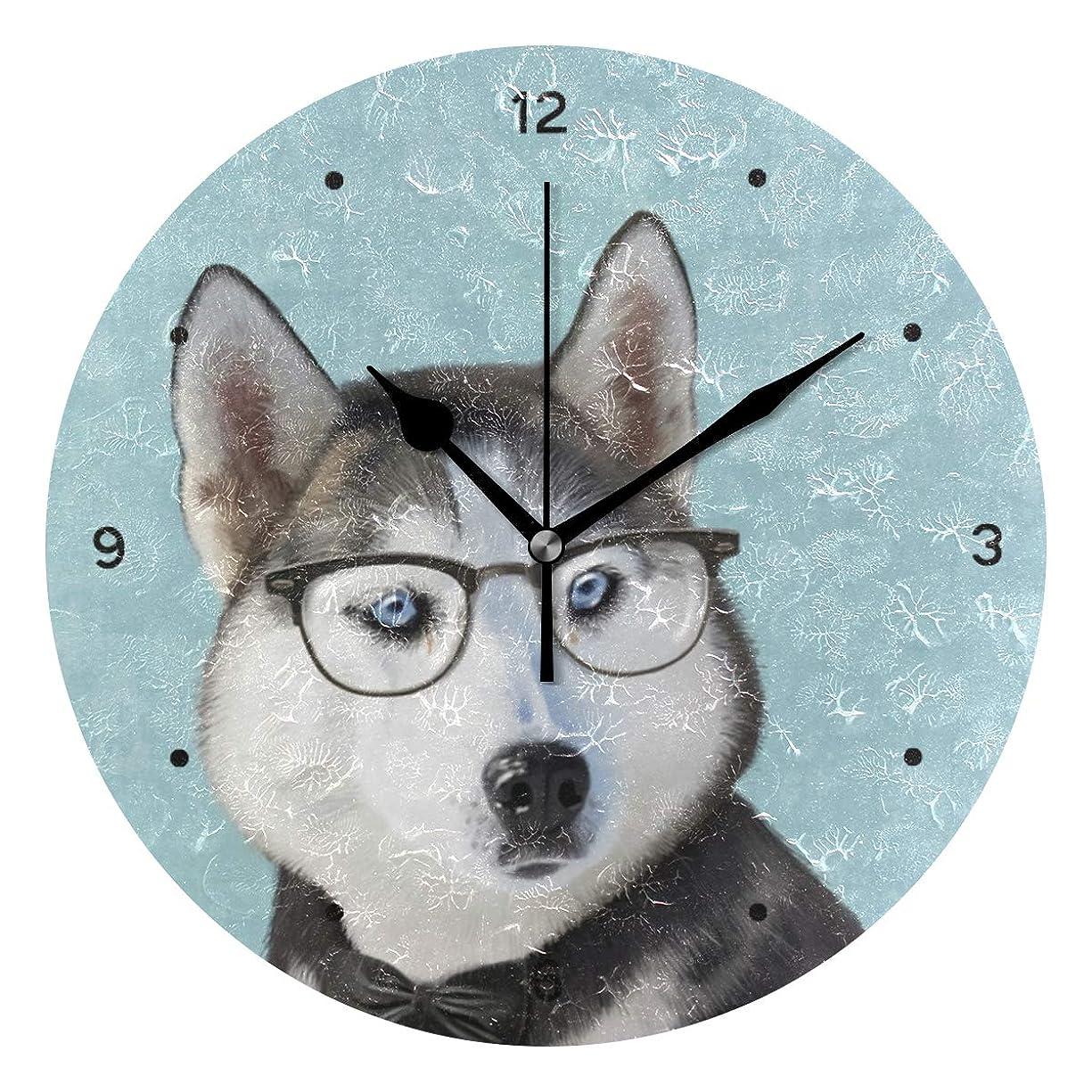 無一文オアシス率直なインテリア 掛け時計 サイレント キッズ 子供 部屋 簡単 水色 ペット 犬 かわいいシベリアン-ハスキー 柄 子供 置き時計 おしゃれ 北欧 時計 壁掛け 連続秒針 電池式 [並行輸入品]