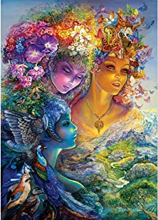MXJSUA 5D Diamond Painting Round Drill Kits for Adults Pasted Embroidery Cross Stitch Arts Craft for Home Wall Decor Flower Fairy 12x16in