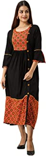 UrbanEra Women's Rayon Black Long Kurta