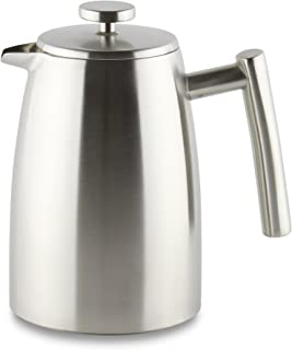 Café Ole Stal Belmont 8 Cup Double Walled Cafetiere Coffee Maker, Stainless Steel, Satin Finish, 1L