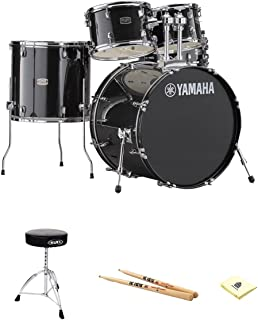 Yamaha RDP2F5BLG Rydeen Drum Kit in Black Glitter with Zildjian Vic Firth 5A Drum Sticks, Mapex T270A Double Brace Round top Drum Throne and Zorro Sounds Drums Polishing Cloth