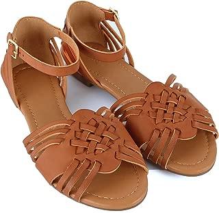 Women Classic Ankle Velcro Strap Mid High Heel Open Toe Dress Sandals (6.5 M US, Tanv1 Pu)