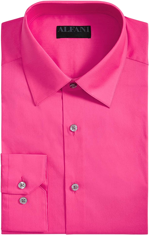 Alfani Mens Slim Fit Officewear Button-Down Shirt Yellow