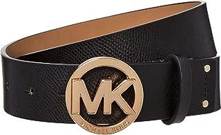 Michael Kors Womens Black Leather Belt Gold Buckle