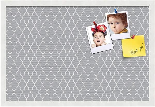 PinPix ArtToFrames 24x16 Custom Cork Bulletin Board This Quatrefoil Grey Pin Board Has A Fabric Style Canvas Finish Framed In Satin White PinPix 284 24x16 FRBW26074