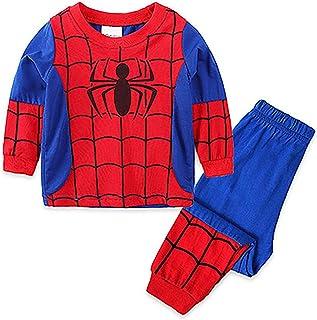Conjunto de pijama para niños de 2 a 7 años de edad, disponible de manga larga, pantalones elásticos de algodón, disfraz de regalo de 2 piezas (tamaño: 3 años, color: A)
