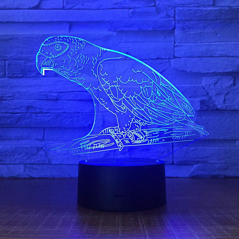 Night Light Parrot Bird cheap 3D Lamp Led Bar Office Great interest Bed Acrylic