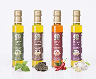 Thya Flavored Extra Virgin Olive Oil Variety Pack: Garlic, Chili Pepper, Truffle, Basil | First Cold Pressed Olives | EVOO Value Pack | 4 Bottles of 8.45 Fl oz each | Total 33.8 Fl oz