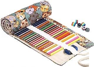 Abaría - Bolsa de lápiz de colores, grande estuche enrollable 72 lápices, portalápices de lona, organizador para arte, gota